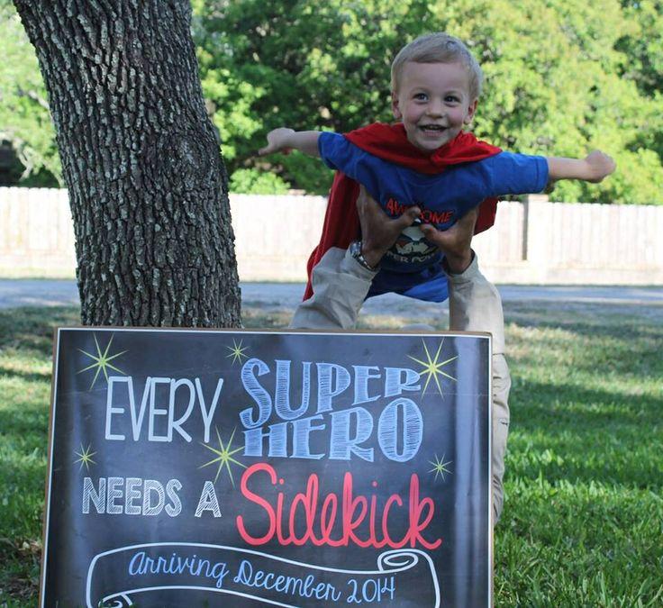 Baby announcement, Every Superhero needs a sidekick! Baby #2, big brother