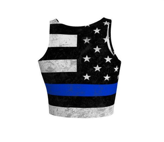 Thin Blue Line Athletic Crop Top - Workout - American Flag
