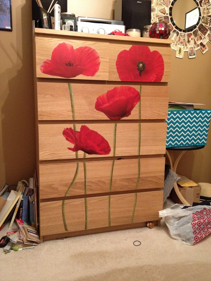 Wall decals on a malm dresser from ikea cheap and easy for Ikea wall decals