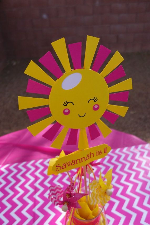 Weigh down for centerpiece https://www.etsy.com/listing/260412045/you-are-my-sunshine-party-double-sided