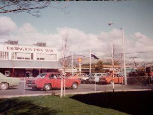 Barrington Park Mall with Port Hills behind, Christchurch 1980's