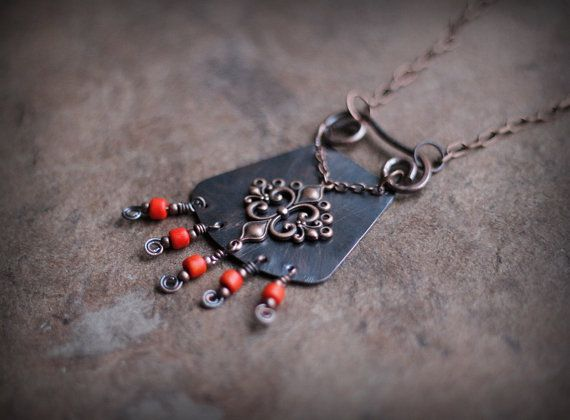Tribal Necklace Oriental Necklace Ethnic Rustic Solid by Triballa