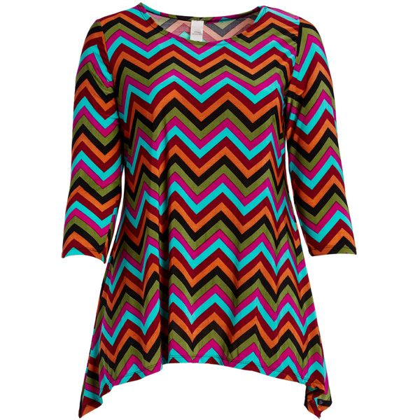 GLAM Orange & Light Blue Chevron Sidetail Tunic ($14) ❤ liked on Polyvore featuring plus size women's fashion, plus size clothing, plus size tops, plus size tunics, plus size, orange tunic, chevron tunic, orange chevron top, stretchy tops and stretch top