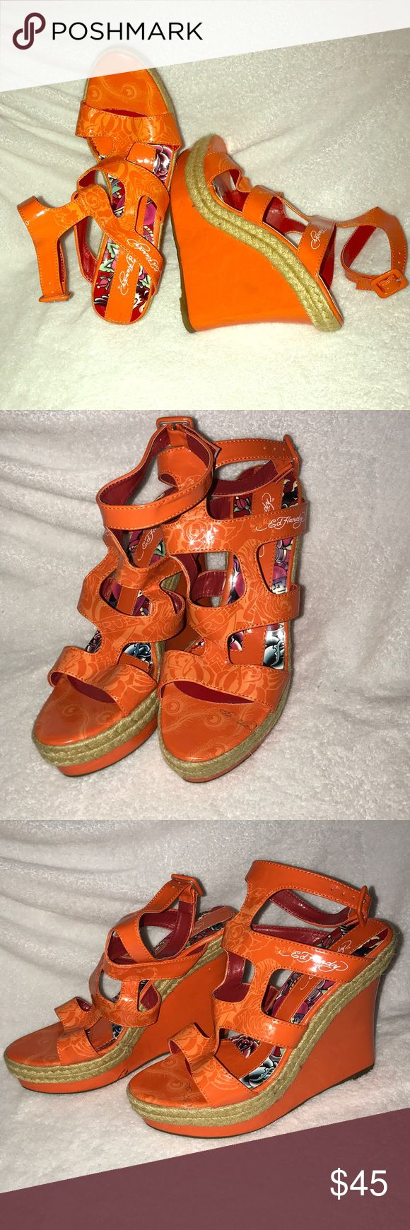 Ed Hardy Orange Wedges Ed Hardy Orange Wedges With Ankle Buckle Ed Hardy Shoes Wedges