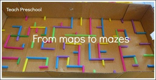 Have you ever noticed the similarities between road maps and mazes? We are exploring the connection between the two this week in preschool.