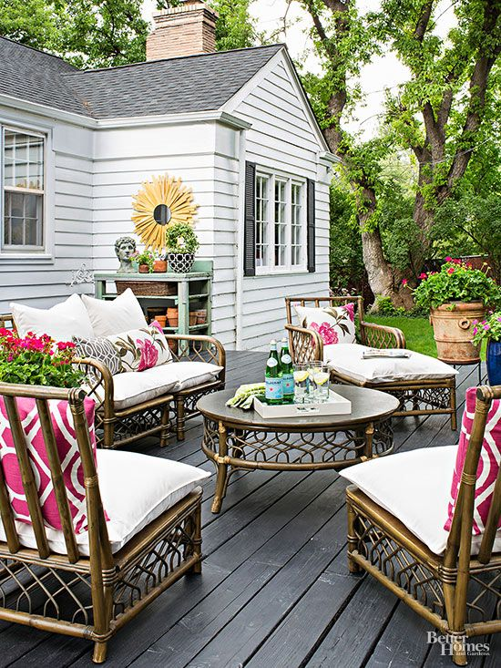 There's no better places than outdoor living spaces for cultivating garden spirit! We love the easy look of this outdoor patio: http://www.bhg.com/home-improvement/patio/designs/patio-ideas/?socsrc=bhgpin050715flowerpatio&page=11