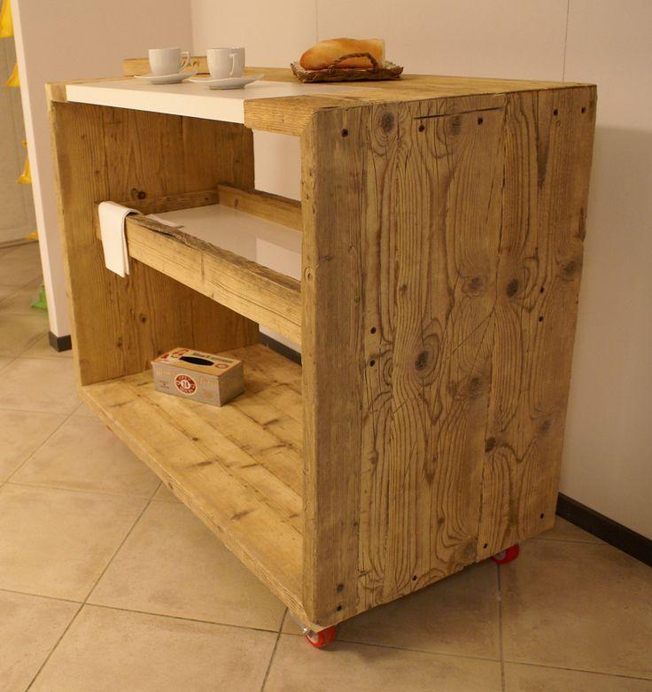 bancone da cucina in legno di recupero