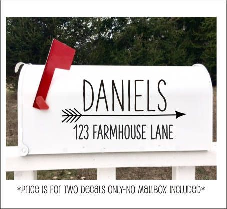 Farmhouse Mailbox Decals Personalized Vinyl Decals Set of