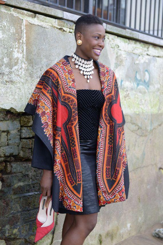NEW Dashiki print on black wool coat by Gitas by GitasPortal ~African fashion, Ankara, kitenge, African women dresses, African prints, African men's fashion, Nigerian style, Ghanaian fashion ~DKK