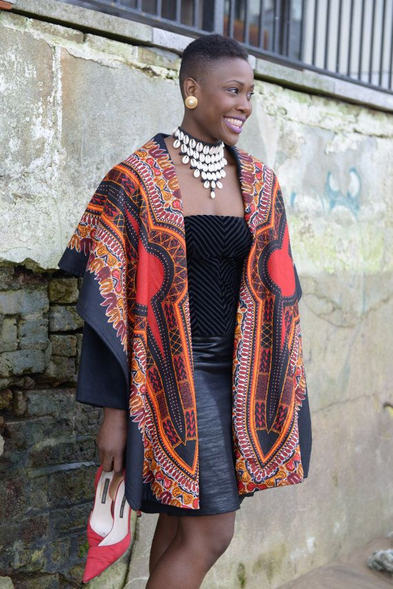 NEW Dashiki print on black wool coat by Gitas by GitasPortal ~African fashion, Ankara, kitenge, African women dresses, African prints, African men's fashion, Nigerian style, Ghanaian fashion ~DKK