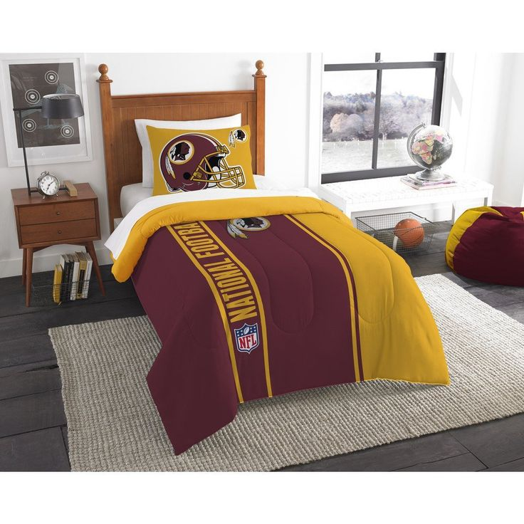 Single Piece Twin NFL Washington D.C. Redskins Football Team Comforter, Sports Pattern Fan Bedding, Football Themed, Featuring Team Logo, Dark Maroon Mustard Yellow, Redskins Merchandise, Team Spirit //Price: $54.03 & FREE Shipping //     #bedding