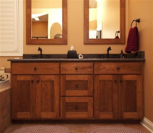 Shaker Style Vanity with Mirror Frames Made to Match - don't like overlay