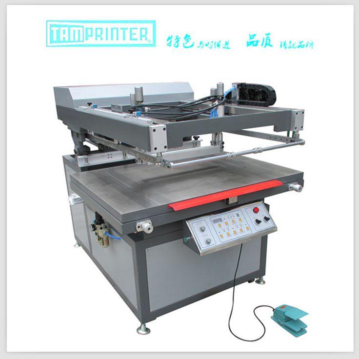 Oblique arm screen printer.