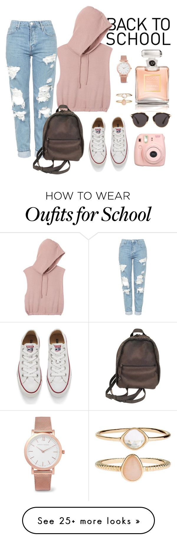 """""""Back to school"""" by alicka128 on Polyvore featuring RVCA, Topshop, STELLA McCARTNEY, Converse, Fujifilm, Christian Dior, Accessorize, Larsson & Jennings and Chanel"""