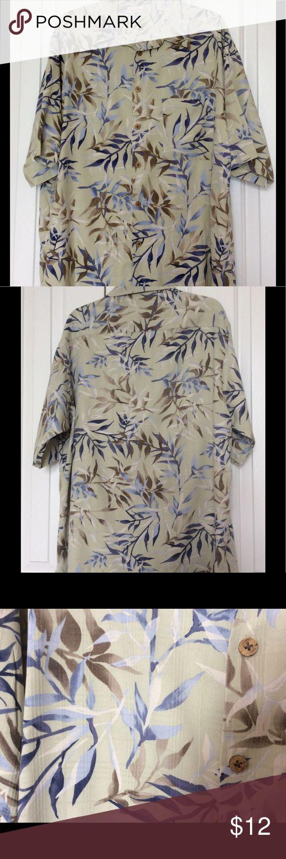 MEN SHIRT 100% SILK.👔 SOOO.....SOFT & Comfortable Short Sleeve Button Front. 100% Silk. Pale Green, Blues & Brown Colors. machine Washable Caribbean Shirts Casual Button Down Shirts
