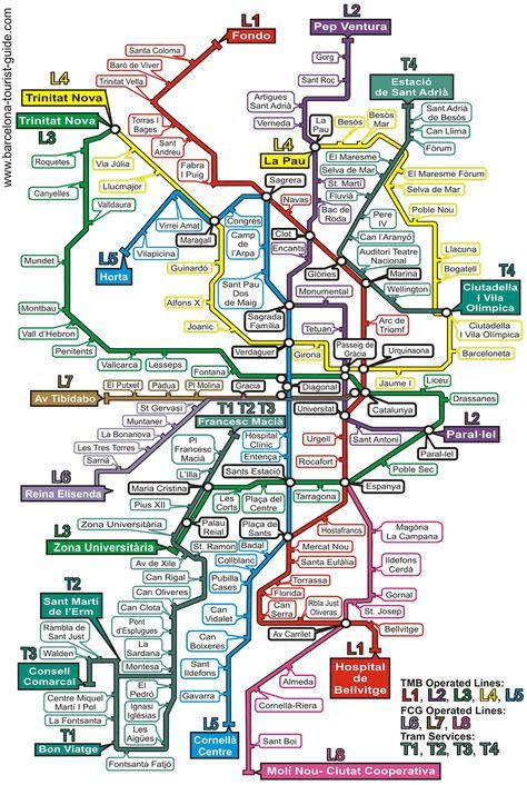 Barcelona Metro Map  Looks confusing, but got used to it. Red/Blue line to La Sagrera. Blue/Yellow for School at Girona.