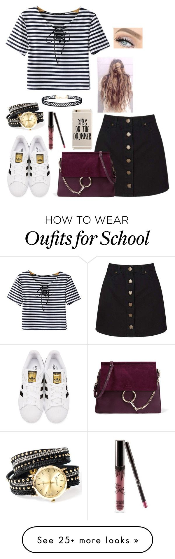 """High school"" by melody02craig on Polyvore featuring Miss Selfridge, adidas Originals, Chicnova Fashion, LULUS, Kylie Cosmetics and Chloé"