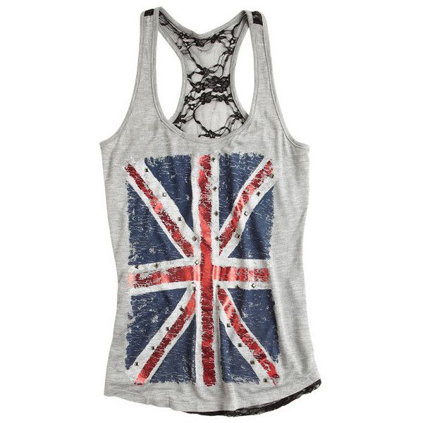 Union Jack Stud Tank ($9.99) ❤ liked on Polyvore featuring tops, shirts, tank tops, tanks, blusas, knit tops, british flag tank top, uk flag shirt, knit shirt and shirts & tops