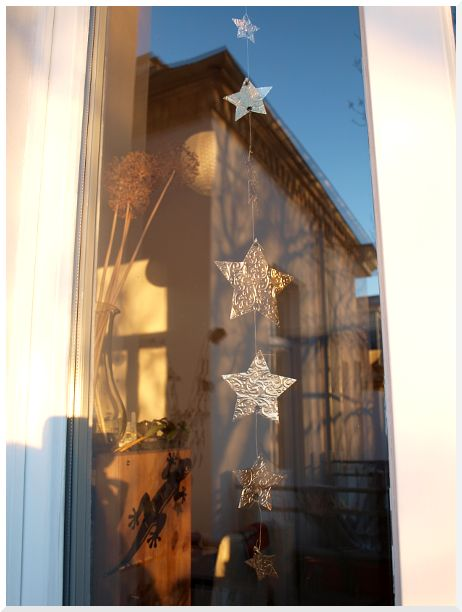 Sternengirlande aus Kaffeeverpackung / Star garland made of coffee package / Upcycling