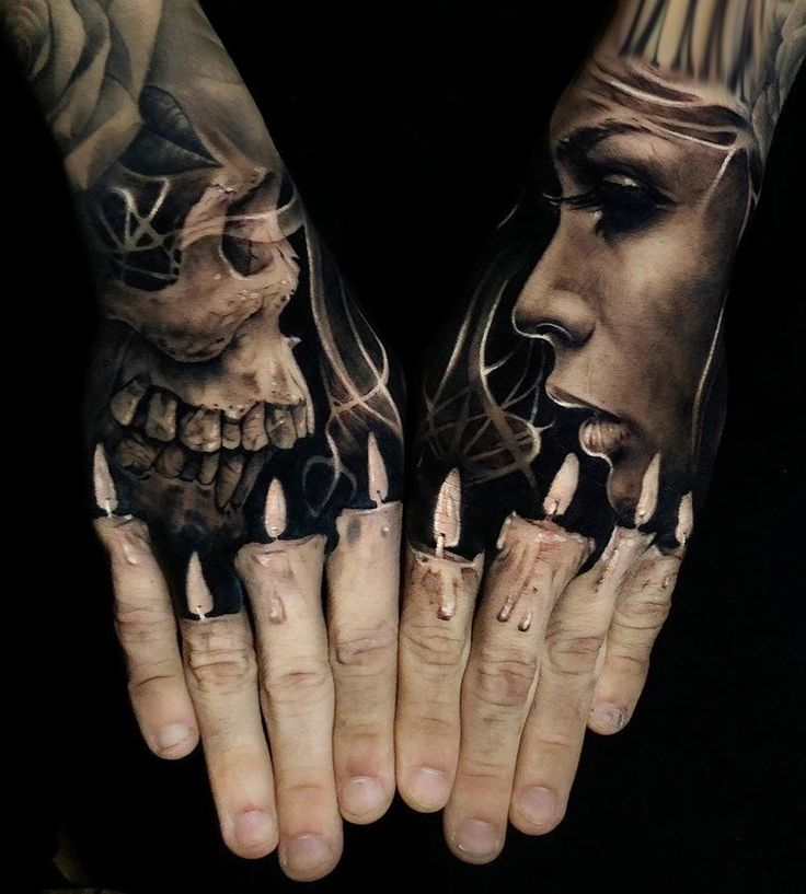 Finger Candles tattoo Hand tattoo