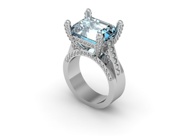 SOLD, $4,250 special cut aquamarine stone set in diamond ring with diamond prongs