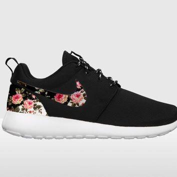 Custom Nike Roshe Run,FREE SHIPPING Floral Nike Roshe Run, Black and White  Nike