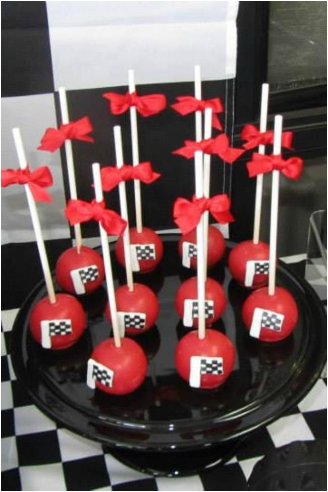 Race Car Birthday Party Checkered Flag Cake Pops
