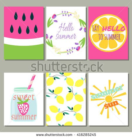Set of 6 of bright summer cards. Vector illustration. Creative journaling cards.