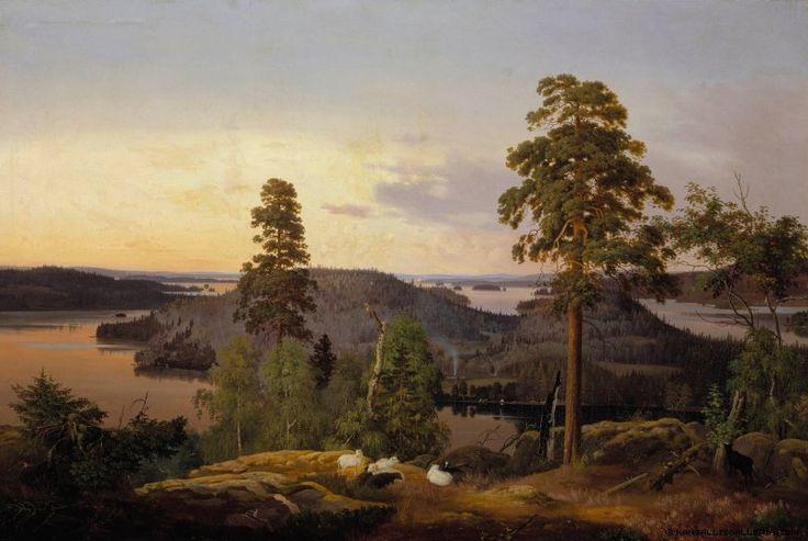 Ferdinand von Wright (1822-1906) Näköala Haminalahdelta / View from Haminalahti (near Kuopio) 1953 - Finland - Click image to get to original site with audio