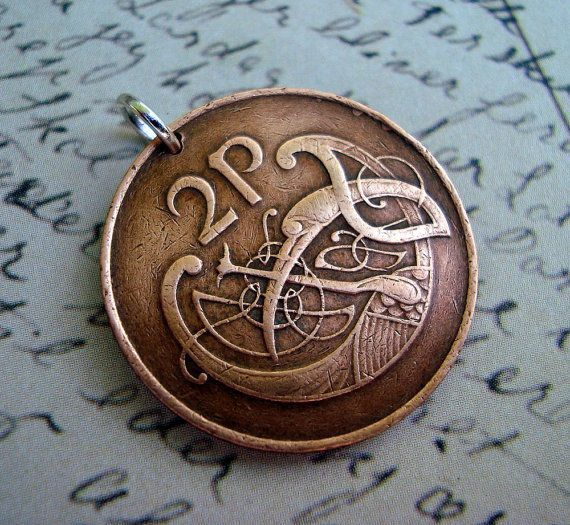 Coin Jewelry  CELTIC Stylized bird copper by FindsAndFarthings, $14.95