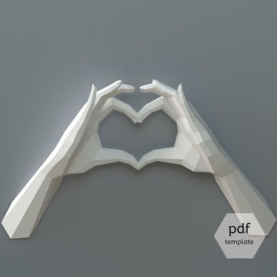 PDF Papercraft Hands Heart Hands Declaration of Love DIY