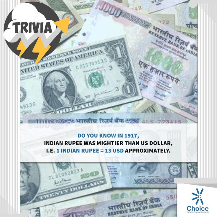 #ChoiceBroking #Trivia - Do you know in 1917, Indian rupee was mightier than US dollar i.e. 1 Indian Rupee = 13 USD approximately.