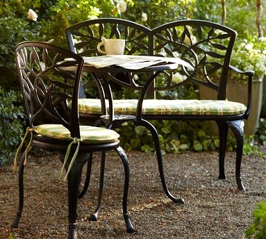 Magnolia Cast Metal Bistro Table Metal Dining Chairs