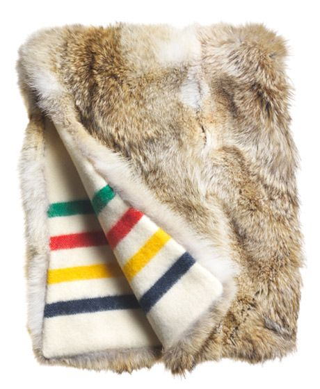 I have a vintage fur coat that has several holes and did not want to get rid of but this is a great idea I wil turn the coat into a blanket Nice!Hudson Bay Blanket + Fur!