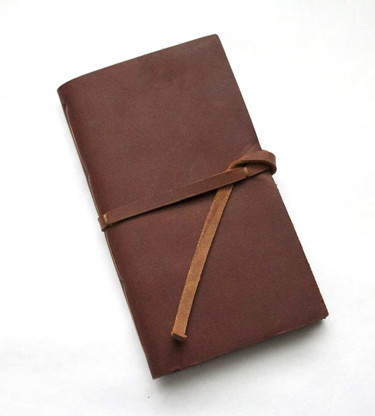 brown leather notebook.