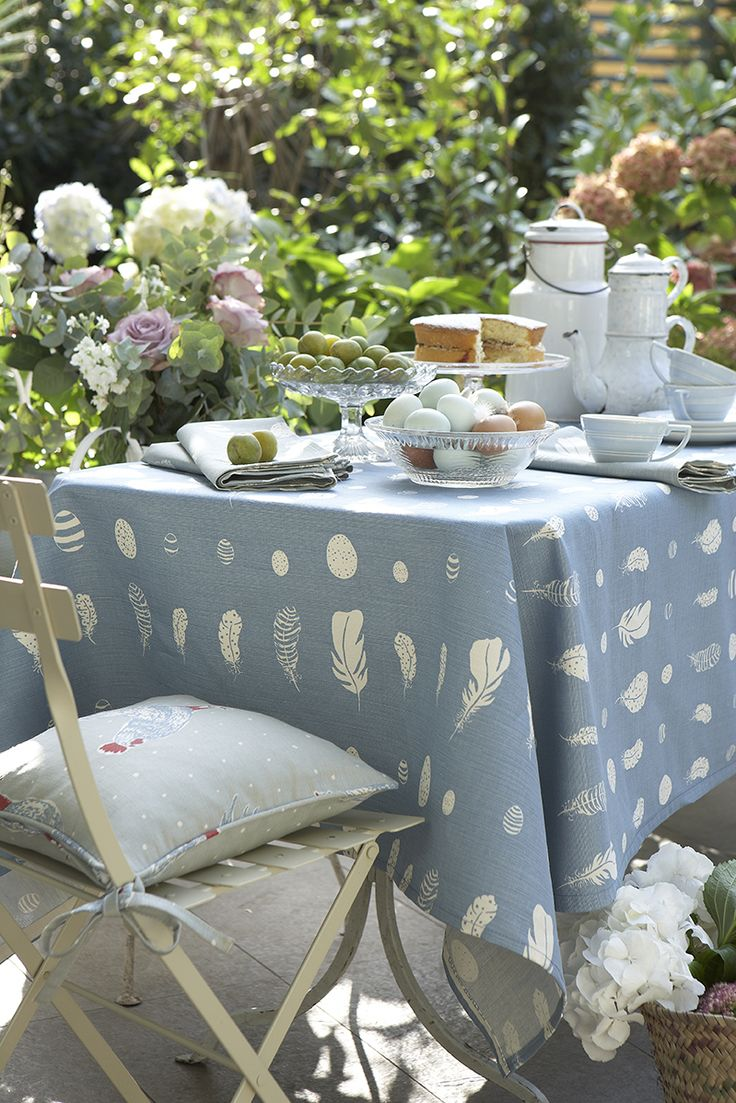 Feather and Egg fabric - perfect for an Easter table setting!