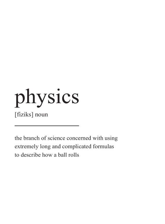 physics definition print wall art print quote print prints