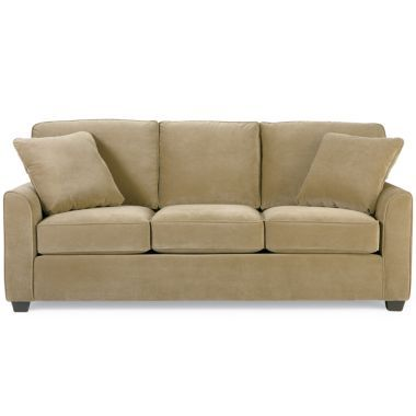 Leather Sofa The Palomino sleeper sofa features a rustic leather look microfiber fabric The sleeper sofa includes an inner spring quilted top queen mattress and