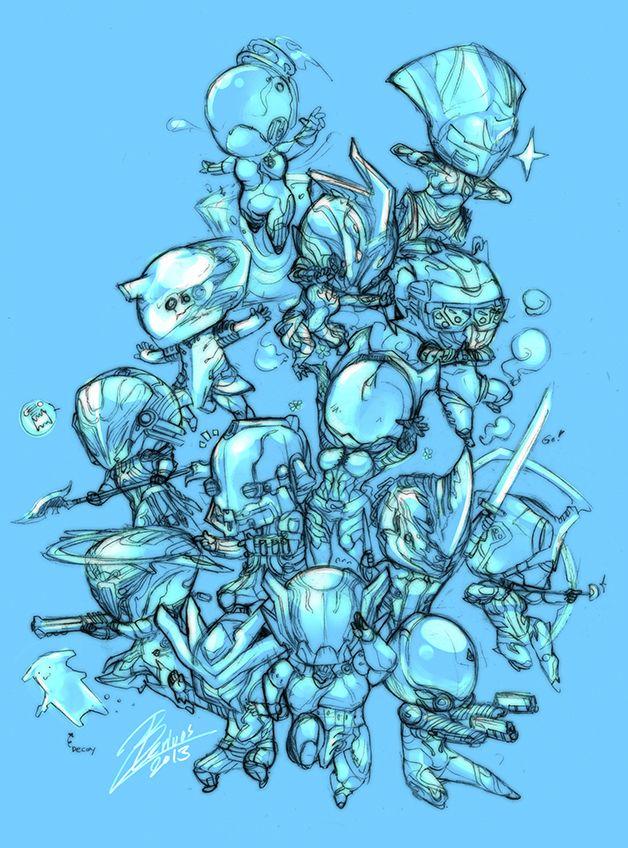 Chibi Warframe sketch by Beriuos