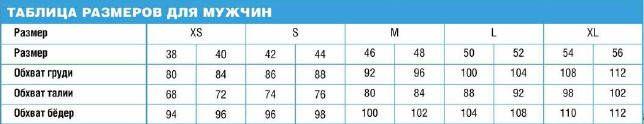 Таблица размеров для мужчин