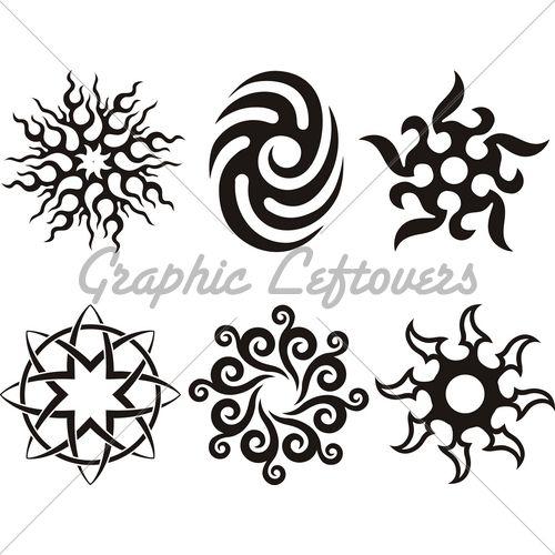 Symbolic Celtic Sun   Tattoo Tribal Silhouette ...