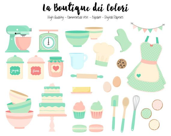 Pink And Mint Baking Clipart Cute Digital Graphics Png Etsy Clip Art Printable Party Decorations Digital Graphics