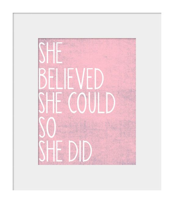 Wall Art for Nursery- Nursery Prints- Wall Decor for Nursery-She Believed She Could So She Did Motivational Quote Pink Print for Nursery