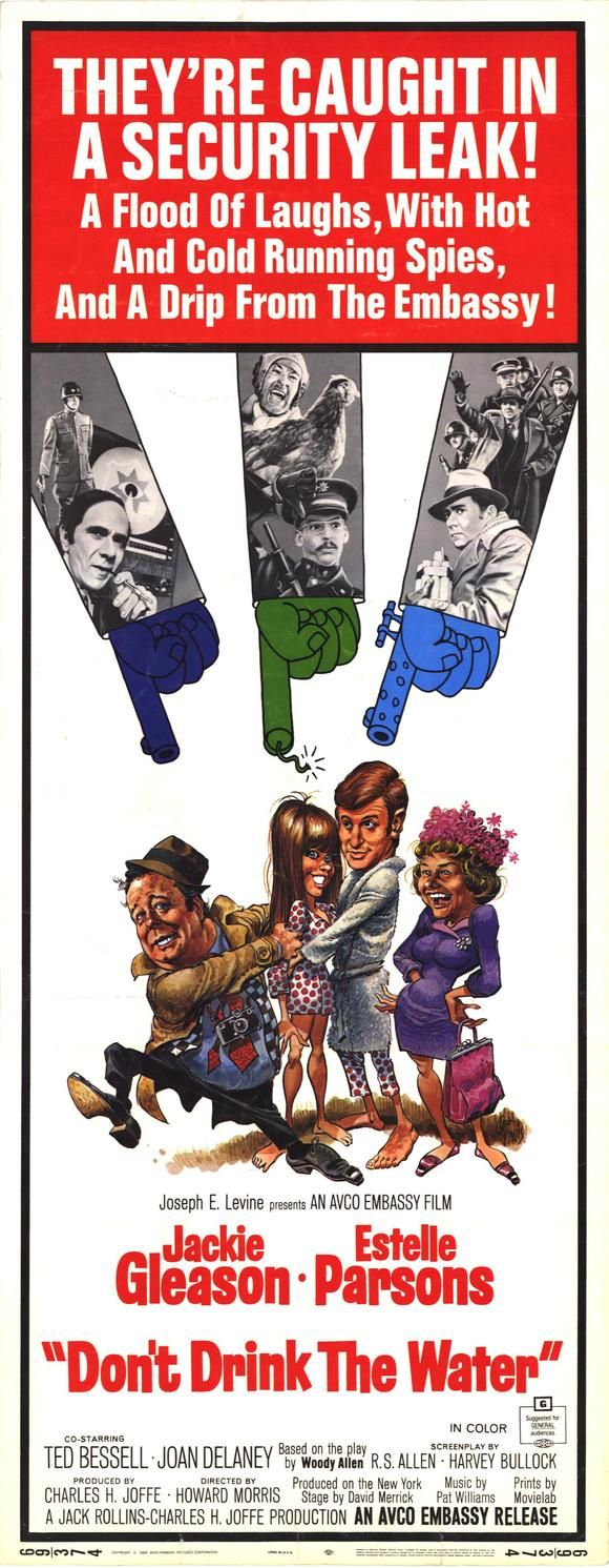 Don't Drink the Water (1969) Stars: Jackie Gleason, Estelle Parsons, Ted Bessell, Michael Constantine, Richard Libertini, Avery Schreiber, Phil Leeds, Martin Danzig, Howard Morris ~ Directed by  Howard Morris