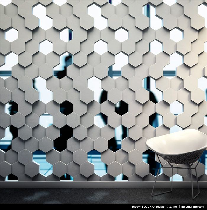 Hive by ModularArts, Inc.Sculptural Screen Walls Highly dramatic, full round partition walls add character to any new or existing space. Blocks fit together accurately for precise alignment and fast installation.