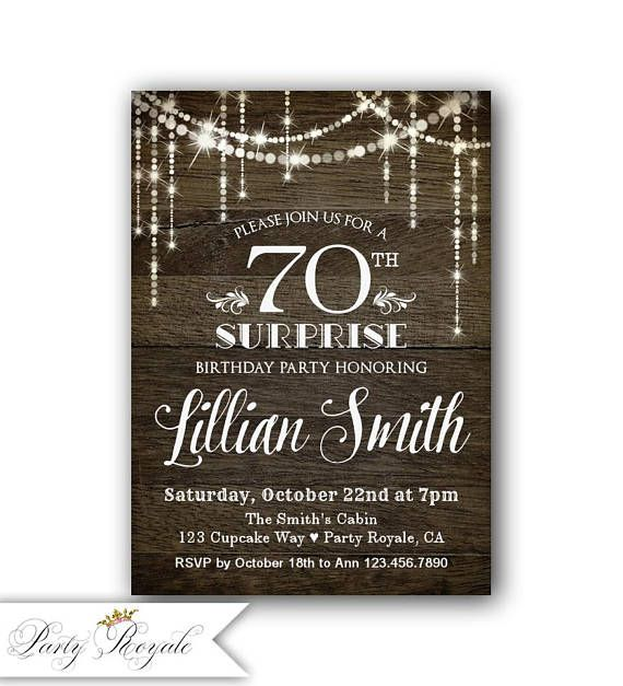 70th Surprise Birthday Invitation Invitations For Her Party