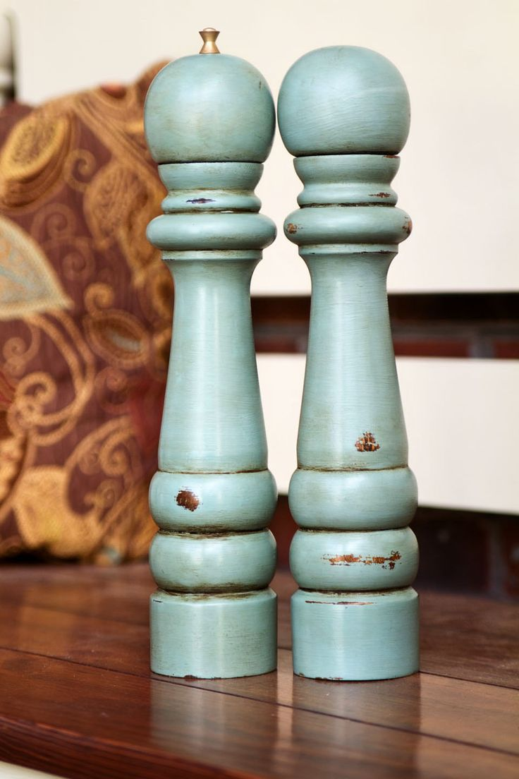 LARGE Painted,Distressed, Wooden Pepper Mill and Salt Shaker - Annie Sloan Chalk Paint - Duck Egg Blue with Dark Wax.