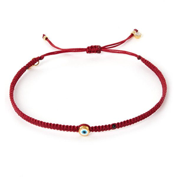 Tai Small Red Evil Eye Woven Bracelet ($71) ❤ liked on Polyvore featuring jewelry, bracelets, evil eye charm, adjustable knot bracelet, braided bracelet, macrame bracelet and travel charm bracelet