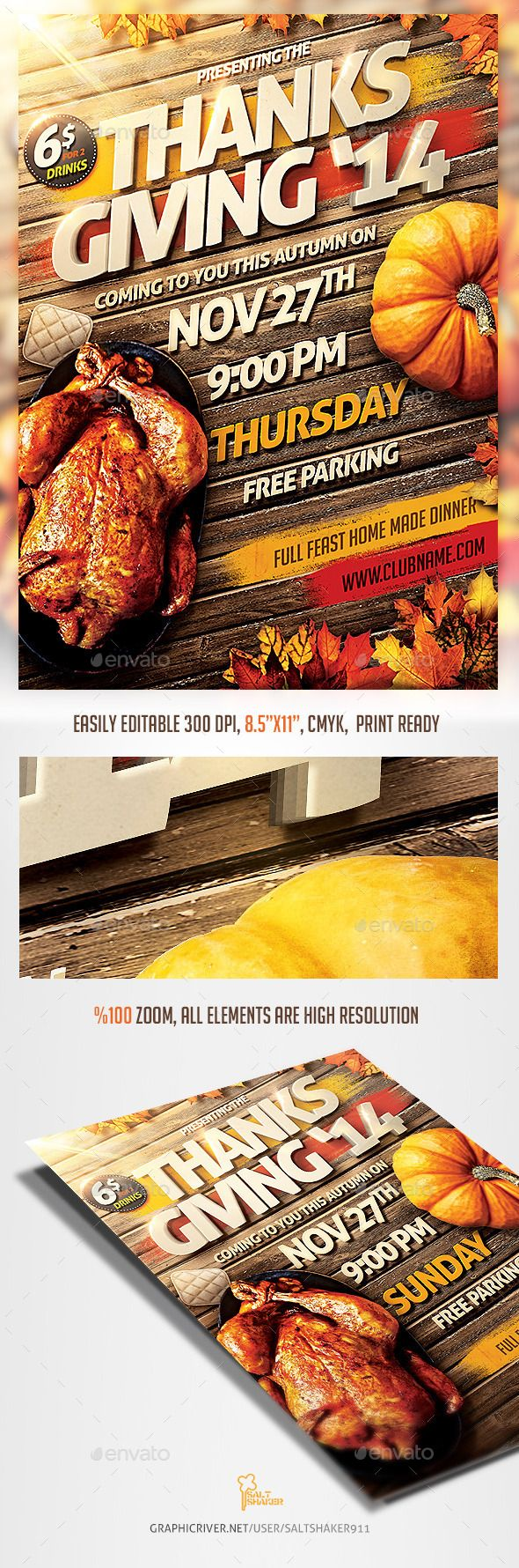 Thanks Giving Party Invitation Flyer Download Photoshop File here…