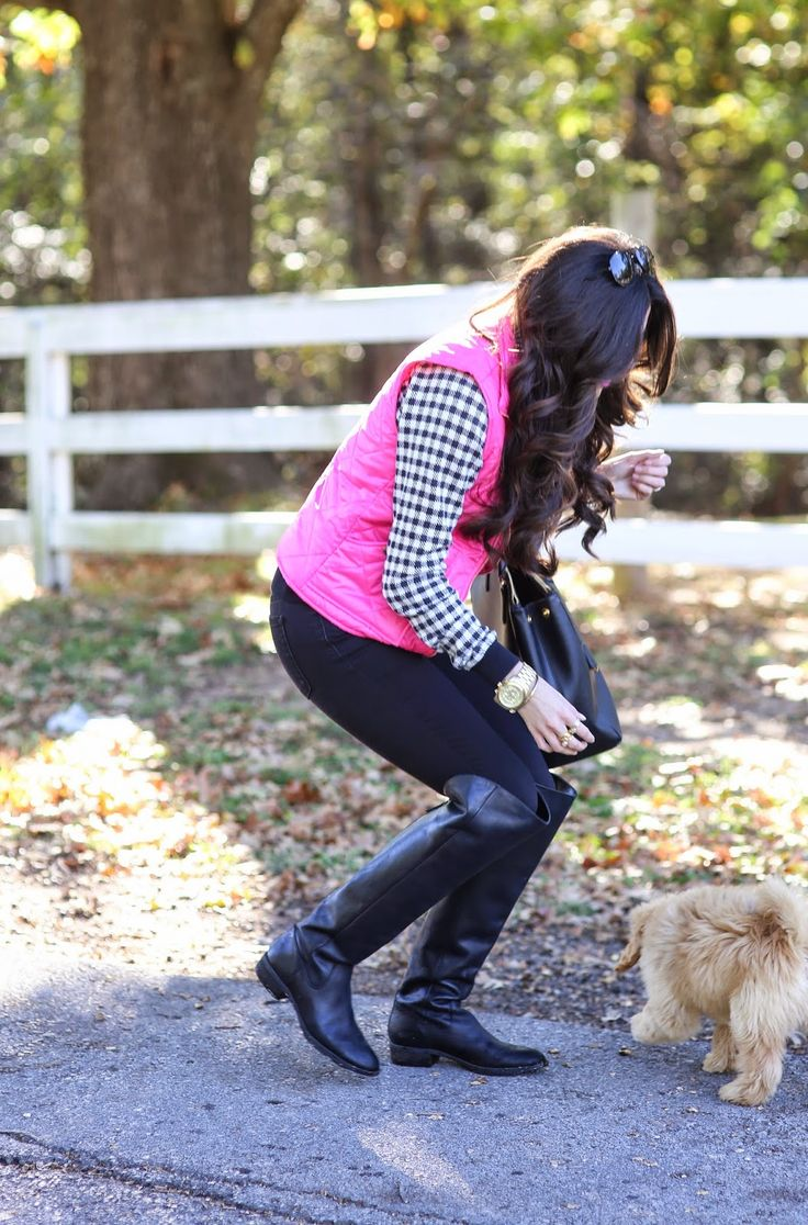 Quilted hot pink vest with a houndstooth sweater and OTK boots